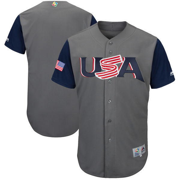 customized Men USA Baseball Majestic Gray 2017 World Baseball Classic Authentic Team Jersey