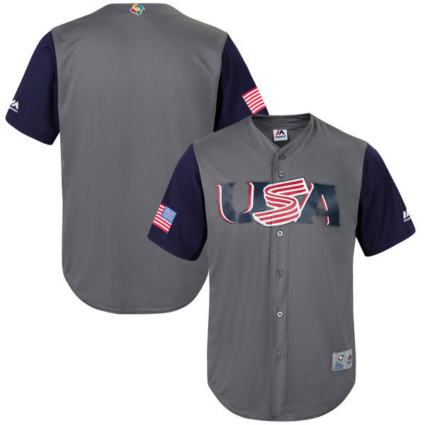 customized Men USA Baseball Majestic Gray 2017 World Baseball Classic Replica Team Jersey