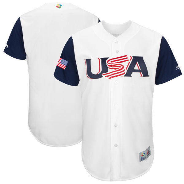 customized Men USA Baseball Majestic White 2017 World Baseball Classic Authentic Team Jersey