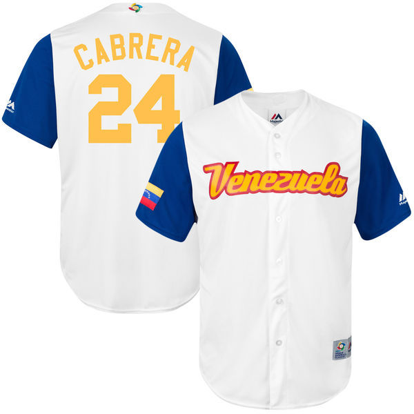 customized Men Venezuela Baseball 24 Miguel Cabrera White 2017 World Baseball Classic Replica Jersey