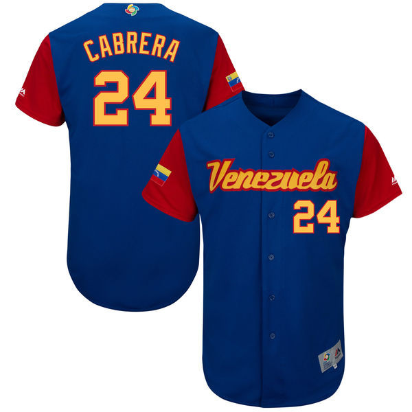 customized Men Venezuela Baseball 24 Miguel Cabrera Majestic Royal 2017 World Baseball Classic Authentic Jersey