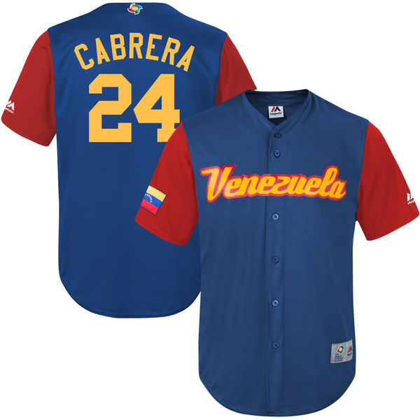 customized Men Venezuela Baseball 24 Miguel Cabrera Majestic Royal 2017 World Baseball Classic Replica Jersey