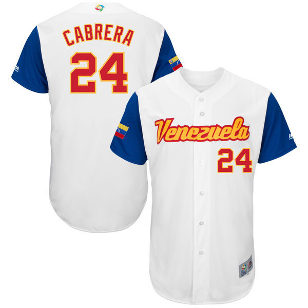 customized Men Venezuela Baseball 24 Miguel Cabrera Majestic White 2017 World Baseball Classic Authentic Jersey