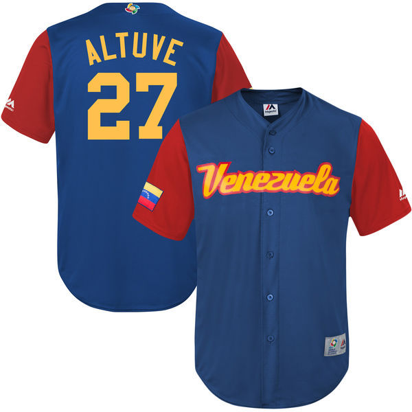 customized Men Venezuela Baseball 27 Jose Altuve Majestic Royal 2017 World Baseball Classic Replica Jersey