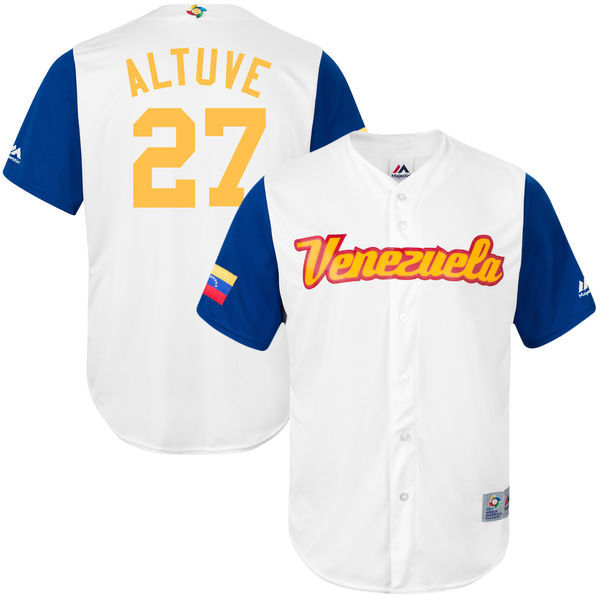 customized Men Venezuela Baseball 27 Jose Altuve Majestic White 2017 World Baseball Classic Replica Jersey