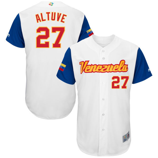 customized Men Venezuela Baseball 27 Jose Altuve White 2017 World Baseball Classic Authentic Jersey