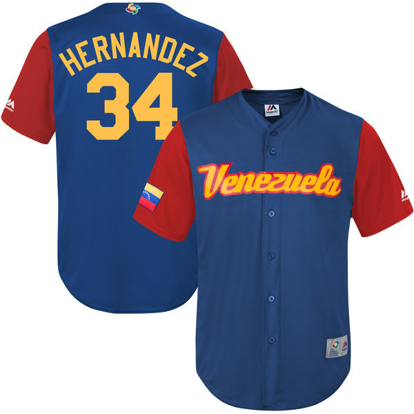 customized Men Venezuela Baseball 34 Felix Hernandez Royal 2017 World Baseball Classic Replica Jersey