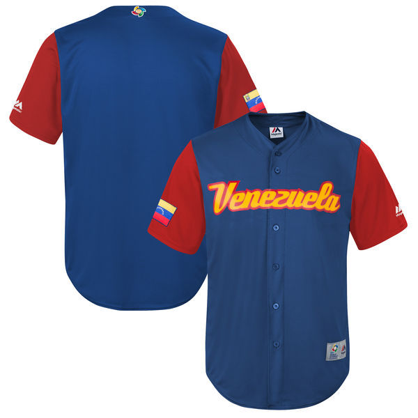 customized Men Venezuela Baseball Majestic Royal 2017 World Baseball Classic Replica Team Jersey