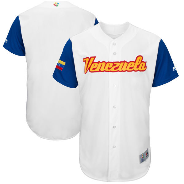 customized Men Venezuela Baseball Majestic White 2017 World Baseball Classic Authentic Team Jersey
