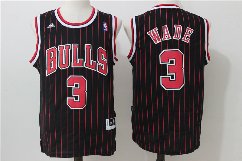 2016 NBA Chicago Bulls 3 Wade Black stripe Jerseys