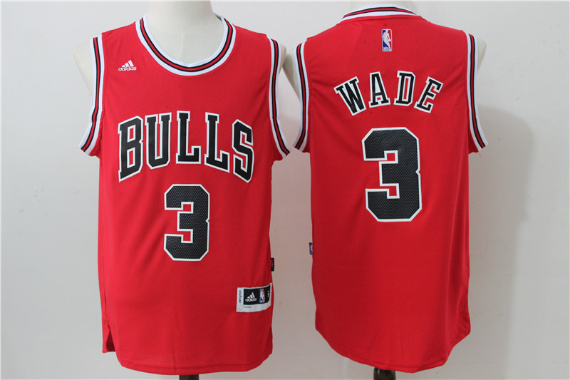 2016 NBA Chicago Bulls 3 Wade Red Jerseys