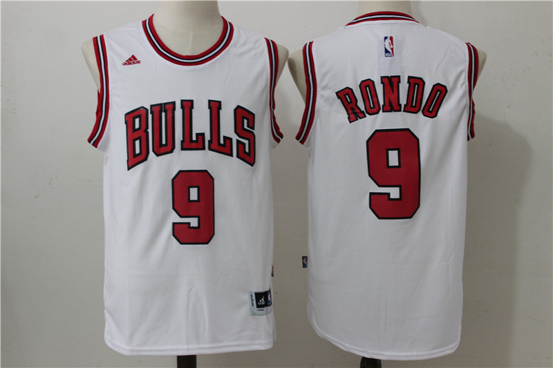 2016 NBA Chicago Bulls 9 Rondo White Jerseys
