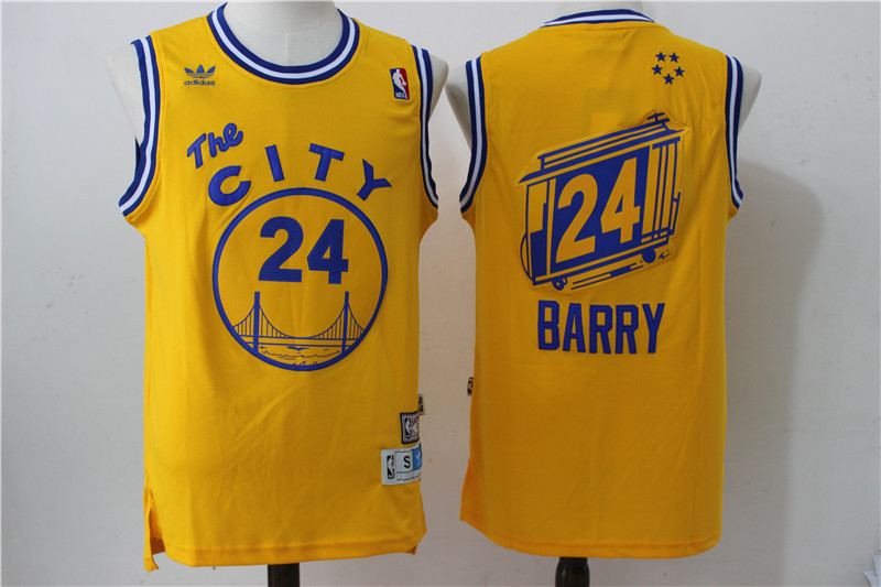 2016 NBA Golden States Warriors 24 Rick Barry Retro Throwback swingman Yellow Jerseys