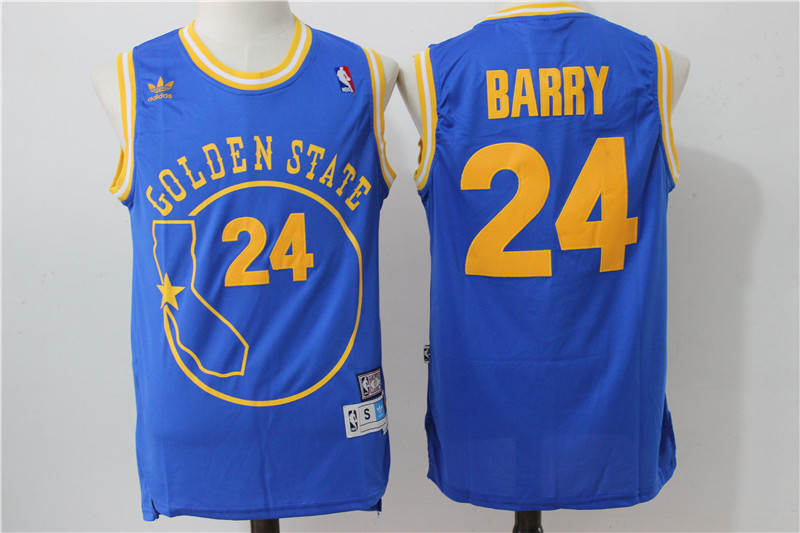 2016 NBA Golden States Warriors 24 Rick Barry Retro Throwback swingman blue jersey