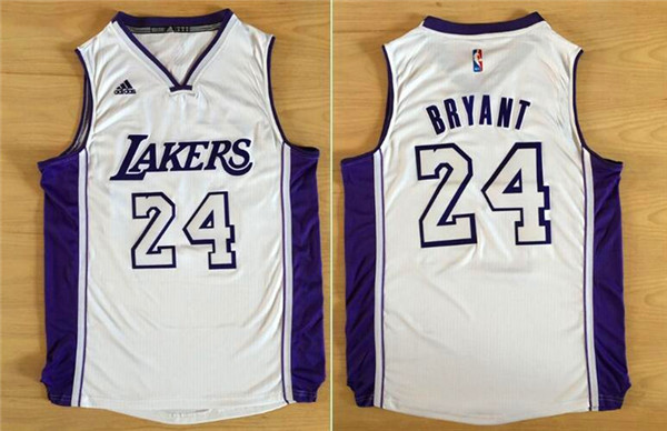 2016 NBA Los Angeles Lakers 24 Kobe Bryant white jerseys