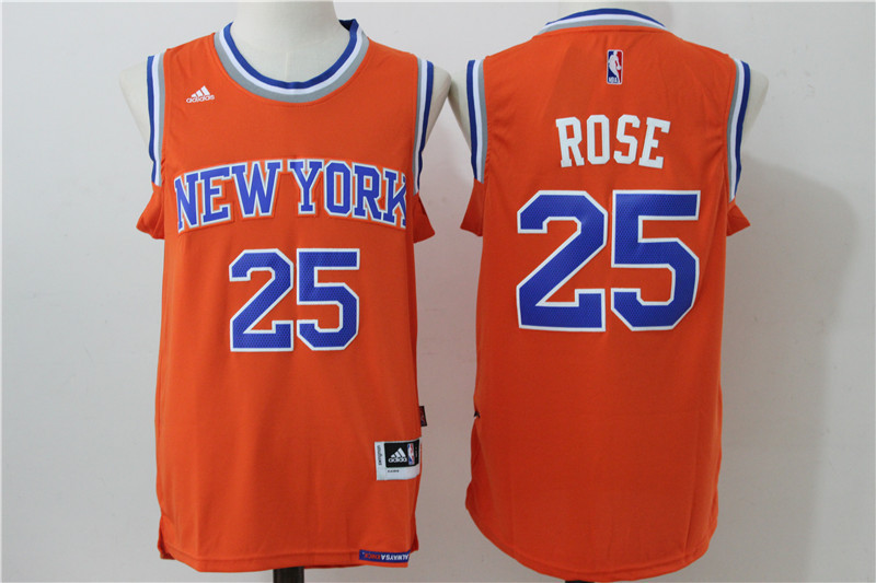 2016 NBA New York Knicks 25 Rose Orange Jerseys