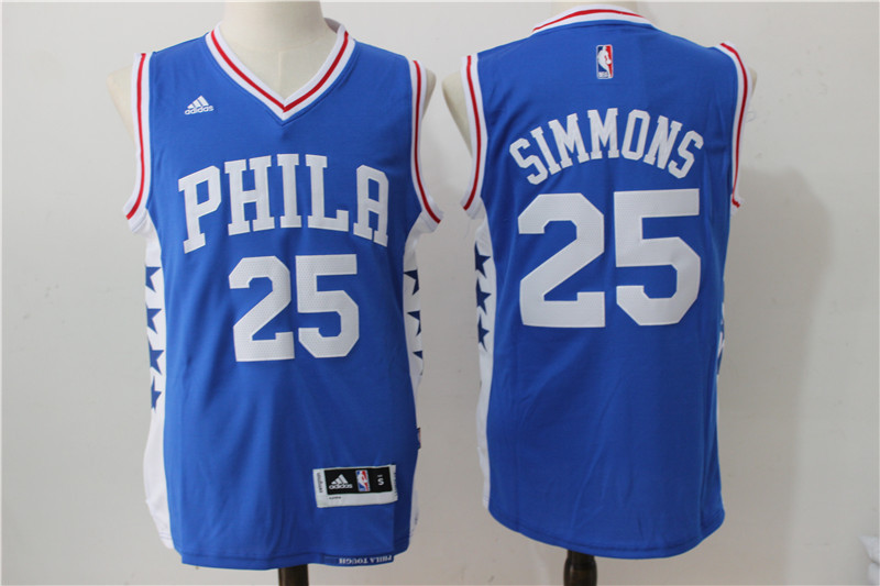 2016 NBA Philadelphia 76ers 25 Simmons Blue Jerseys