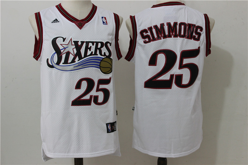 2016 NBA Philadelphia 76ers 25 Simmons White Throwback Jerseys