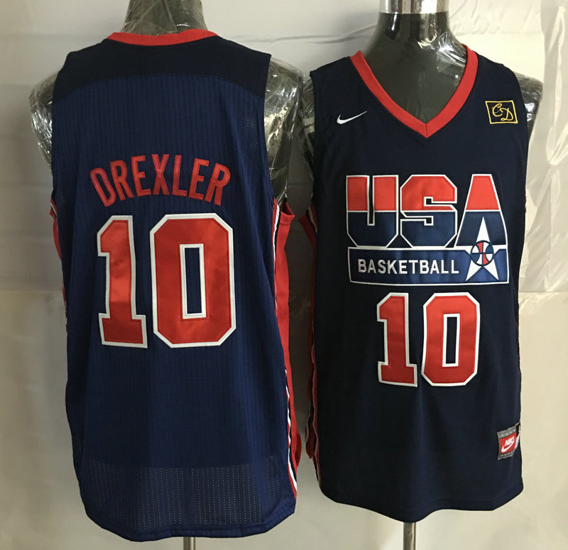 2016 NBA USA 10 Drexler Blue jerseys