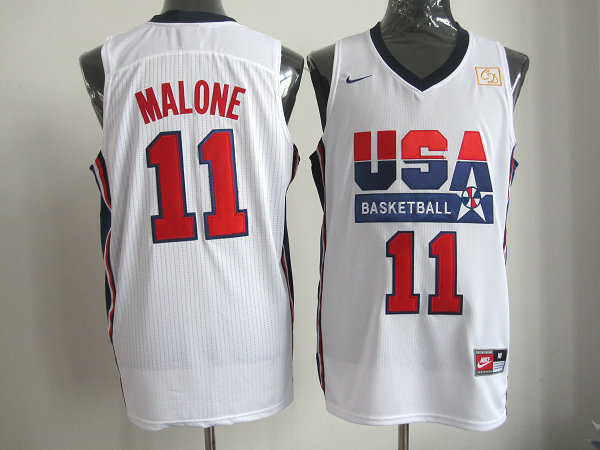 2016 NBA USA 11 Malone white jerseys