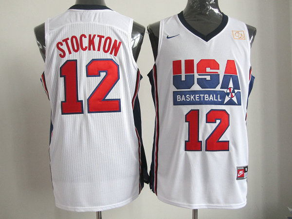 2016 NBA USA 12 Stockton white jerseys