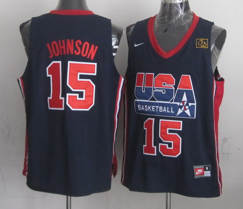 2016 NBA USA 15 Johnson Blue jerseys