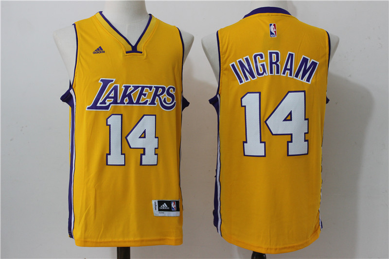 2016 NBA los angeles lakers 14 Ingram Yellow Jerseys