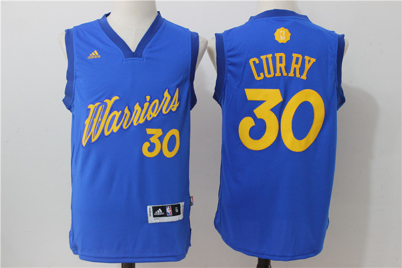 2016-2017 NBA Golden State Warriors 30 Curry Blue Christmas Day Swingman Jersey