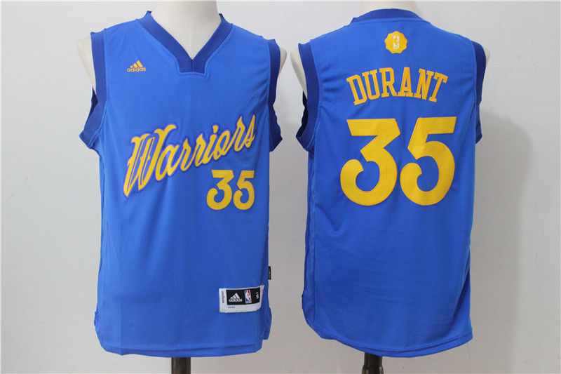 2016-2017 NBA Golden State Warriors 35 Durant Blue Christmas Day Swingman Jersey