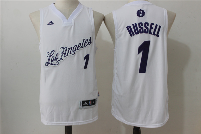 2016-2017 NBA Los Angeles Lakers 1 Russell White Christmas Day Swingman Jersey