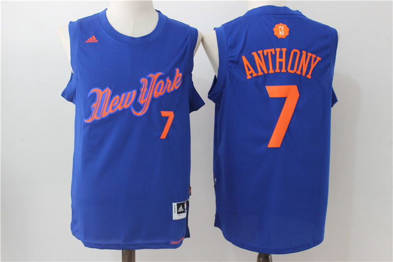 2016-2017 NBA New York Knicks 7 Anthony Blue Christmas Day Swingman Jersey