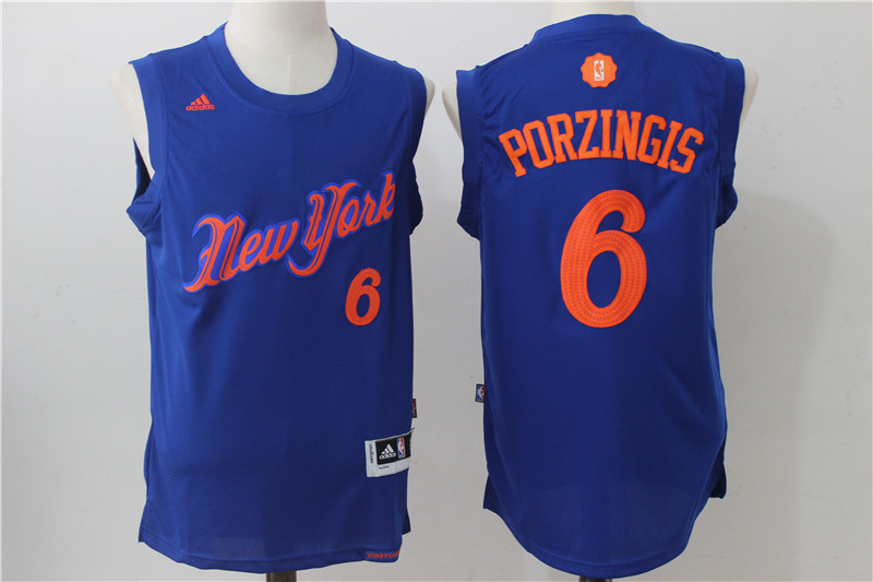 2016-2017 NBA New York Knicks 6 Porzingis Blue Christmas Day Swingman Jersey