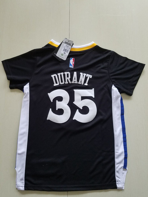 2017 NBA Golden State Warriors 35 Durant black kids jerseys