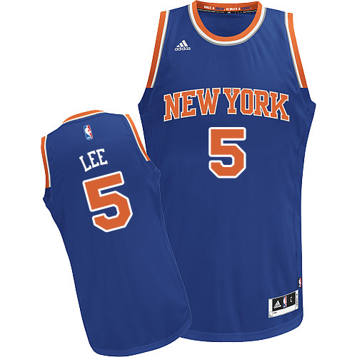 2017 NBA New York Knicks 5 Lee blue jersey