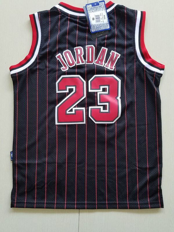 2017 chicago bulls 23 jordan black strip red number kids jersey