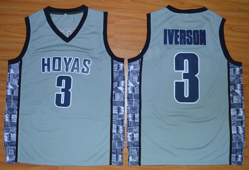 Georgetown Hoyas Allen Iverson 3 NCAA Basketball Throwback Jersey - Grey