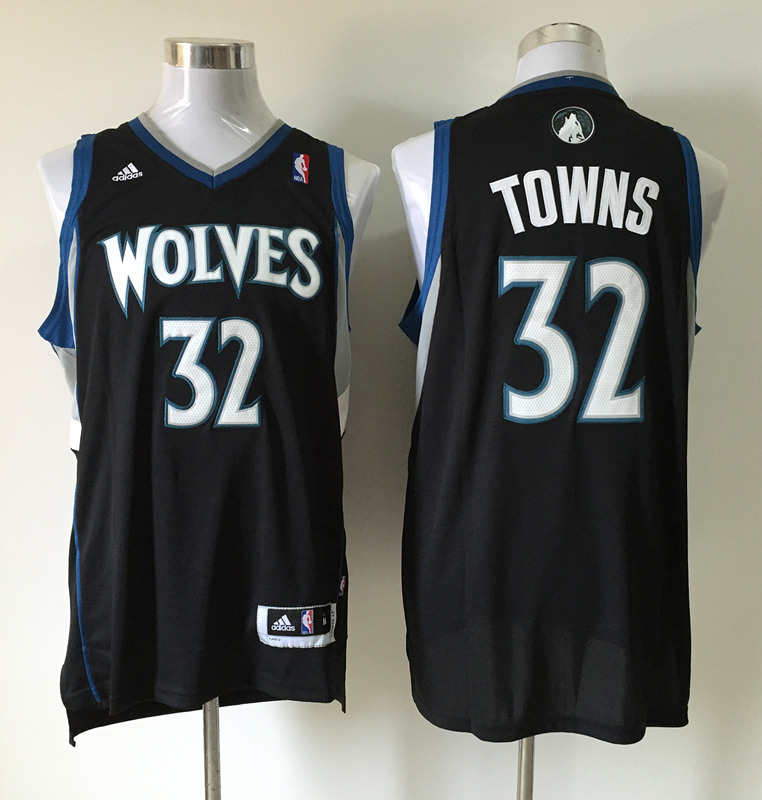 Men's Minnesota Timberwolves 32 Karl-Anthony Towns black jerseys