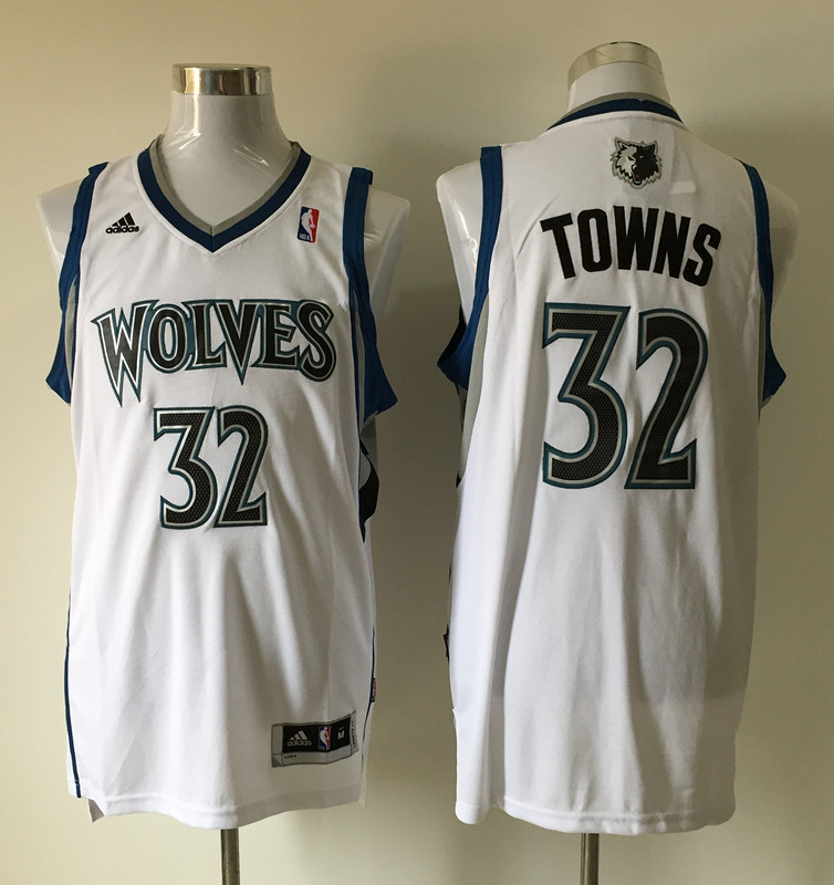 Men's Minnesota Timberwolves 32 Karl-Anthony Towns white jerseys