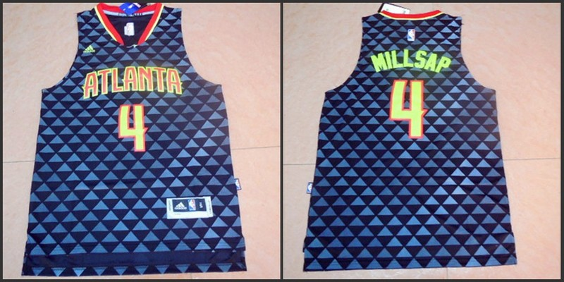 NBA Atlanta Hawks 4 Paul Millsap Blue 2015 Jerseys