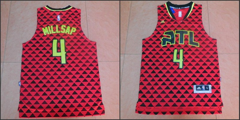 NBA Atlanta Hawks 4 Paul Millsap Red 2015 Jerseys