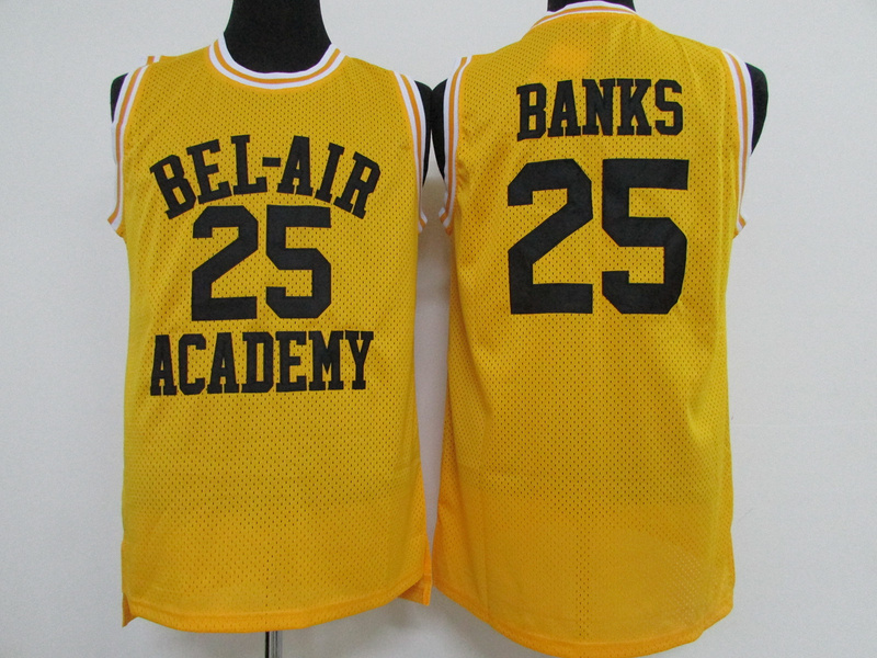 NBA BEL-AIR Academy 25 Carlton Banks Yellow 2015 Jerseys