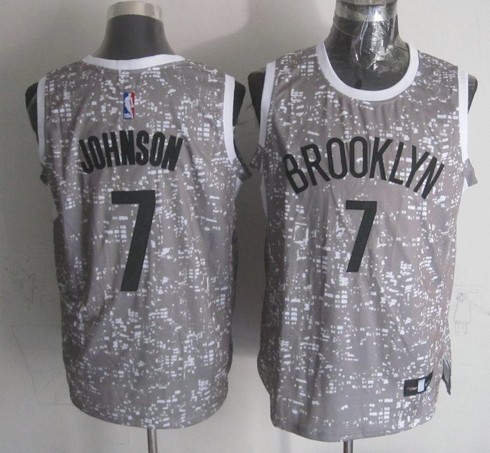 NBA Brooklyn Nets 7 Johnson Grey National Flag Star Jersey