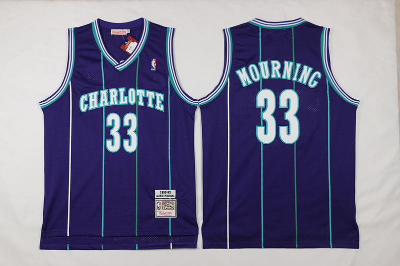 NBA Charlotte Hornets 33 Mourning Purple 2015 Jerseys
