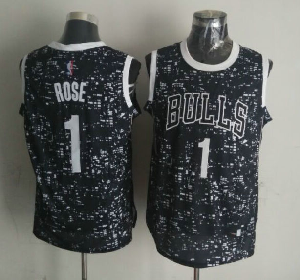 NBA Chicago Bulls 1 ROSE Black National Flag Star Jersey