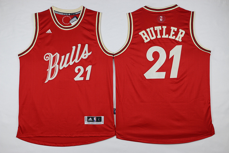 NBA Chicago Bulls 21 Jimmy Butler Red 2015 Christmas Day Swingman Jersey.