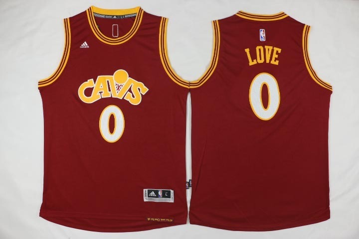NBA Cleveland Cavaliers 0 Kevin Love Red Throwback Jerseys