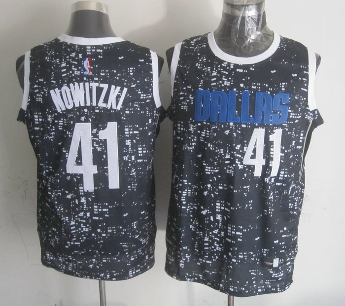 NBA Dallas Mavericks 41 nowitzki Black National Flag Star Jersey