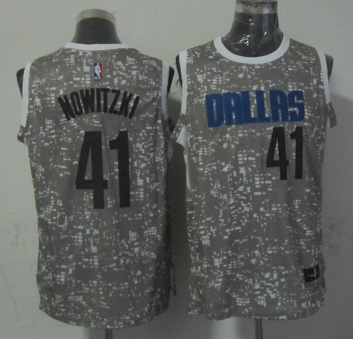 NBA Dallas Mavericks 41 nowitzki Grey National Flag Star Jersey