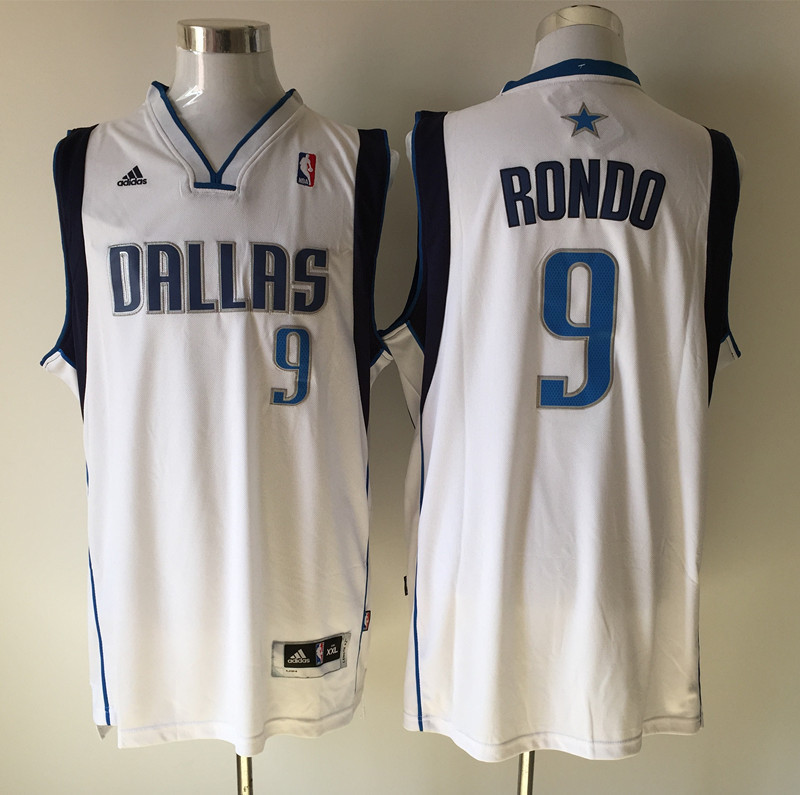 NBA Dallas Mavericks 9 Rajon Rondo White 2015 Jerseys