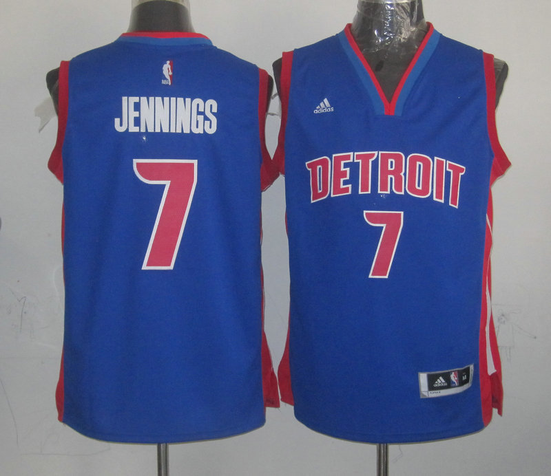 NBA Detroit Pistons 7 Brandon Jennings Blue Jersey